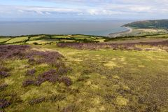 Moor landscape and Bristol channel coastline, Exmoor Stock Photography