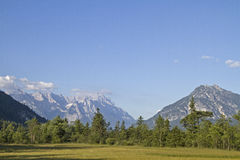 Moor in Loisach Valley. The Moor in Loisach Valley with the backdrop of the Wetterstein mountains stock images