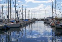 Moorage of boats and yachts at sea Royalty Free Stock Photos