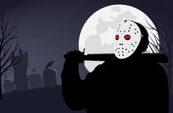 Moordenaar in een masker op Halloween stock illustratie