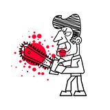Moordenaar met Bloedige messen in hand vector Geïsoleerde beelden op witte achtergrond royalty-vrije illustratie