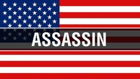 Moordenaar op een de vlagachtergrond van de V.S., het 3D teruggeven De vlag die van de Verenigde Staten van Amerika in de wind go vector illustratie