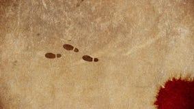 Moordenaarsvoetstappen die vanaf Misdaadscène lopen stock illustratie