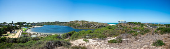 Moore river meets Atlantic ocean. Panoramic view of the Moore River meeting Atlantic ocean in Western Australia Royalty Free Stock Photo