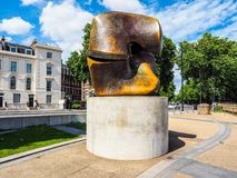 Moore sculpture titled Locking Piece in London, hdr Stock Photo