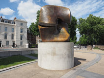 Moore sculpture titled Locking Piece in London Stock Image