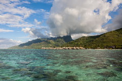 Moorea - coral reefs in front of water-bungalows Royalty Free Stock Images