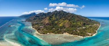 Moorea-Inselfranzösisch-polynesien-Lagunenvogelperspektive lizenzfreies stockbild