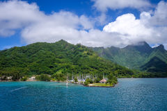 Moorea island harbor and pacific ocean lagoon landscape Royalty Free Stock Image