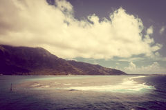 Moorea island and pacific ocean lagoon landscape Royalty Free Stock Images