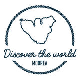 Moorea Map Outline. Vintage Discover the World. Royalty Free Stock Photos