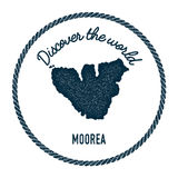 Moorea map in vintage discover the world insignia. Stock Photos