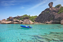 Moored in the bay inflatable boat Royalty Free Stock Photo