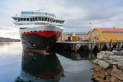 Moored big modern passenger ship in Norway Stock Photo