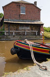 Moored boat. On the canal in Ellesmere royalty free stock photos