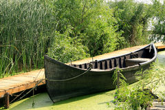 Moored boat. A moored old fishing boat Stock Photography