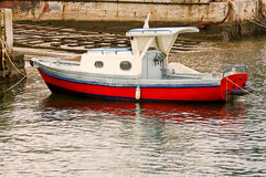 Moored boat. Boat moored on a pier royalty free stock images
