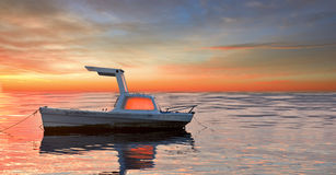 Moored boat at sunset Royalty Free Stock Image