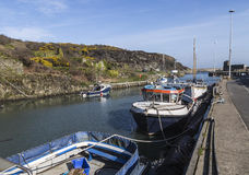 Moored boats at Amlwch Port on Anglesey, Wales, UK, Stock Photo