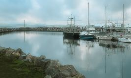 Moored Boats on Calm Water with Reflections at Oceanside Marina royalty free stock images