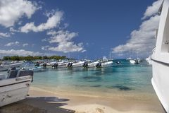 Moored boats and catamarans on the coast of the Caribbean Sea. Caribbean Sea. Coast for mooring of boats and catamarans stock images