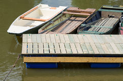 Moored Boats and Floating Pier Stock Photos