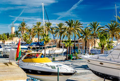 Moored boats. In the Fuengirola seaport. Malaga Province, Andalusia. Spain Stock Photography