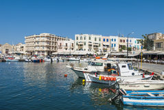 Moored boats harbour Chania Stock Photography