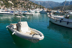 Moored boats at lagoon in Mallorca Stock Images