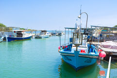 The moored boats Stock Images