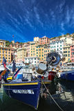 Moored boats at marina in Camogli Italy Royalty Free Stock Photo