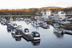 Moored Boats In Marina River Leven Balloch Loch Lomond Scotland Royalty Free Stock Photos