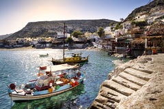 Moored boats in Matala harbor Stock Image