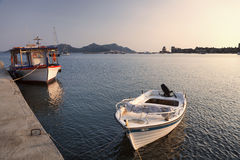 Moored boats in Methoni, Greece. Little moored boats in Methoni, Greece Stock Photo