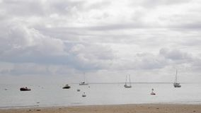 Moored boats in Noirmoutier island stock footage