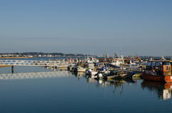 Moored boats, Poole Harbour. Fishing vessels and other small boats moored at the harbour in Poole, Dorset Royalty Free Stock Photo