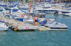 Moored boats Port de Alcudia Stock Images