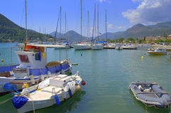 Moored boats at port,Lefkada,Greece Stock Photography