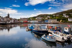 Tarbert Harbour Argyll and Bute Scotland UK. Moored boats at Tarbert Harbour. Tarbet, a small fishing town and ferry terminal in Argyll and Bute, Scotland, UK Royalty Free Stock Photography
