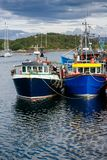 Fishing boats at Tarbert Harbour Argyll and Bute Scotland UK. Moored boats at Tarbert Harbour. Tarbet, a small fishing town and ferry terminal in Argyll and Bute Stock Images