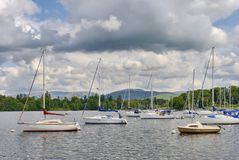 Moored boats on Windermere Royalty Free Stock Images