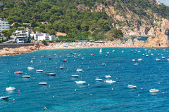 Moored boats and yachts at bay at Tossa de Mar Royalty Free Stock Photo