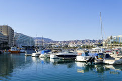 Moored boats and yachts in Eilat, Israel Stock Images