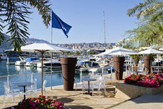 Moored boats and yachts in marina of Eilat, Israel Royalty Free Stock Photos