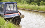 Moored canal boat Stock Images