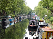 Moored canal boats Stock Photo