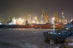 Moored Cargo Ship Royalty Free Stock Images