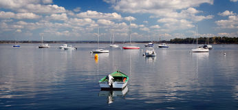 Moored colored boats Royalty Free Stock Image