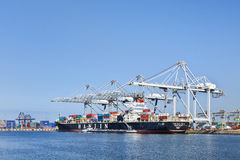 Moored container ship Port of Rotterdam Royalty Free Stock Image