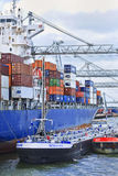Moored container ship Port of Rotterdam Royalty Free Stock Images